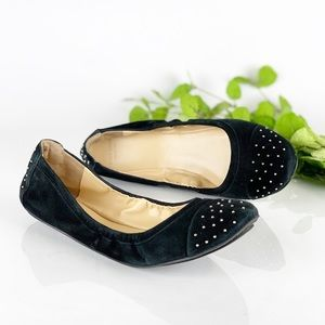 Cole Haan Avery Cap Toe Ballet Flat Black Studded